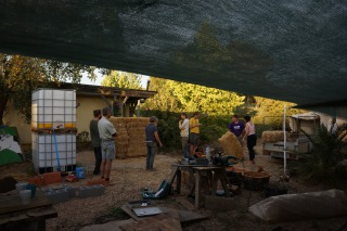 The team building a staw bale insulated digester